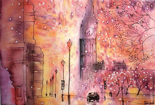 Пейзаж ручной работы. Ярмарка Мастеров - ручная работа. Купить Лондон. Handmade. Разноцветный, шёлк