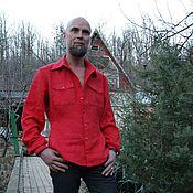 Одежда ручной работы. Ярмарка Мастеров - ручная работа Льняная мужская рубаха в талию. Handmade.