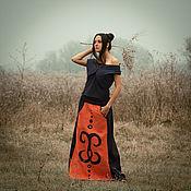 Одежда handmade. Livemaster - original item Long Ornamented Orange Linen Skirt «Arabesco». Handmade.
