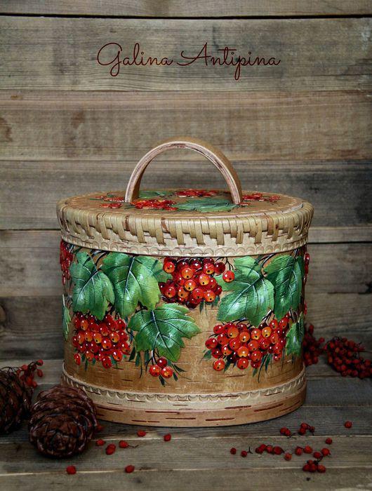 Быт ручной работы. Ярмарка Мастеров - ручная работа. Купить Берестяная хлебница Туес Калина красная. Handmade. Ярко-красный