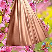 """Одежда ручной работы. Ярмарка Мастеров - ручная работа Персиковая атласная юбка """"Насыщенный персик"""". Handmade."""