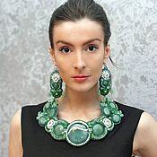 Украшения handmade. Livemaster - original item Green jewelry set necklace earrings bracelet