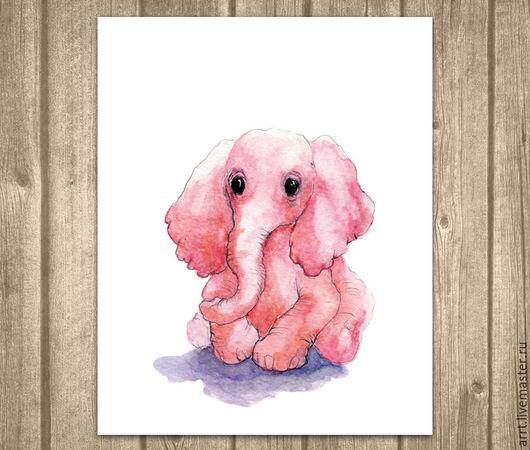 Детская ручной работы. Ярмарка Мастеров - ручная работа. Купить Розовый Слон Акварель Картина для детской комнаты. Handmade. Розовый