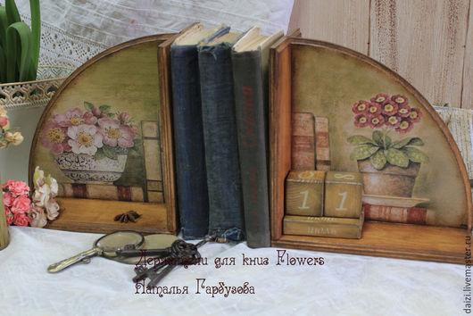 """Мебель ручной работы. Ярмарка Мастеров - ручная работа. Купить Держатели для книг """"Flowers"""". Handmade. Оливковый, книги"""