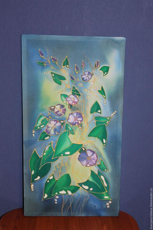 """Картины цветов ручной работы. Ярмарка Мастеров - ручная работа. Купить """"Ночной вьюнок"""". Handmade. Комбинированный, настенное панно, Батик"""