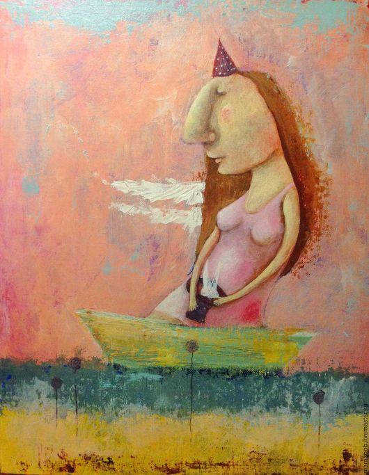 Люди, ручной работы. Ярмарка Мастеров - ручная работа. Купить Цирк на воде. Handmade. Розовый, картина, ангел, цирк, лодка
