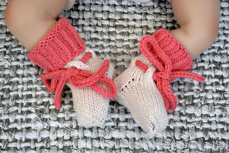 Носочки для новорожденного вязаные полушерстяные, Пинетки, Зеленоград,  Фото №1