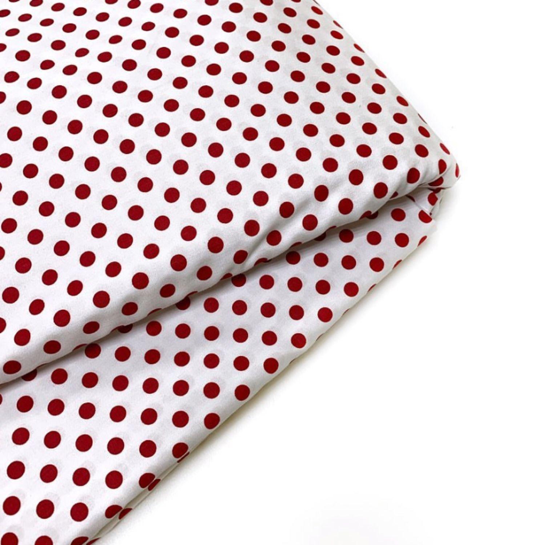 Ткань хлопок красный горошек 8мм. Сатин. 100% Хлопок, Ткани, Москва,  Фото №1