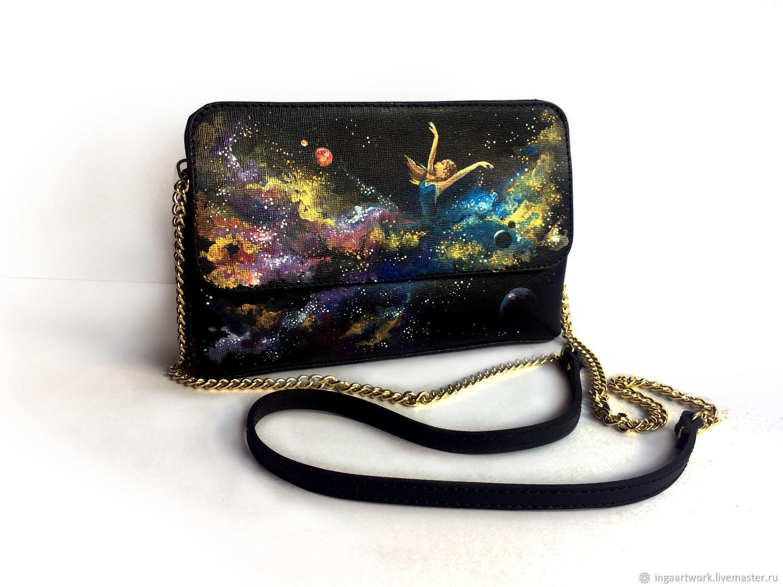 """Черный клатч из натуральной кожи с росписью """"Вселенная"""", Clutches, Trakai,  Фото №1"""