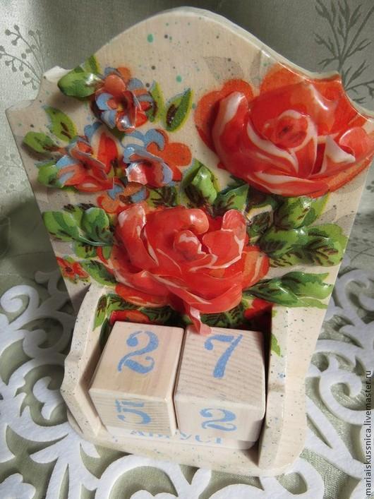 """Календари ручной работы. Ярмарка Мастеров - ручная работа. Купить """"Розы на белом"""". Handmade. Белый, зелень, Декупаж, деревянная заготовка"""