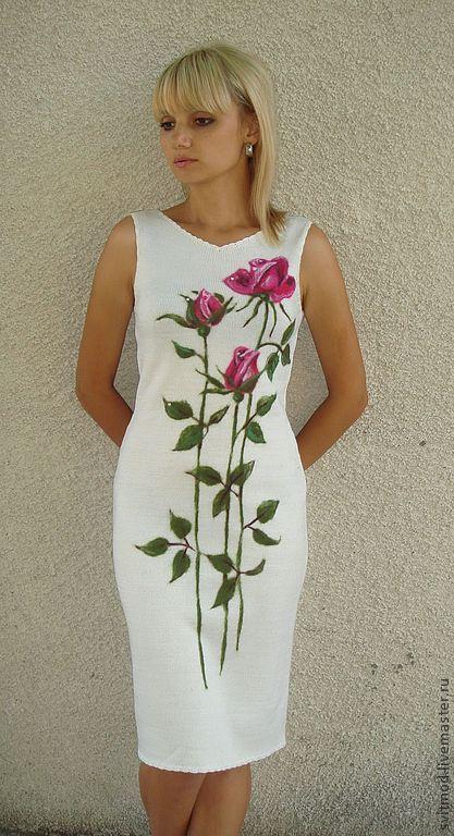 Платья ручной работы. Ярмарка Мастеров - ручная работа. Купить Платье  0121. Handmade. Белый, платье вязаное, платье на заказ
