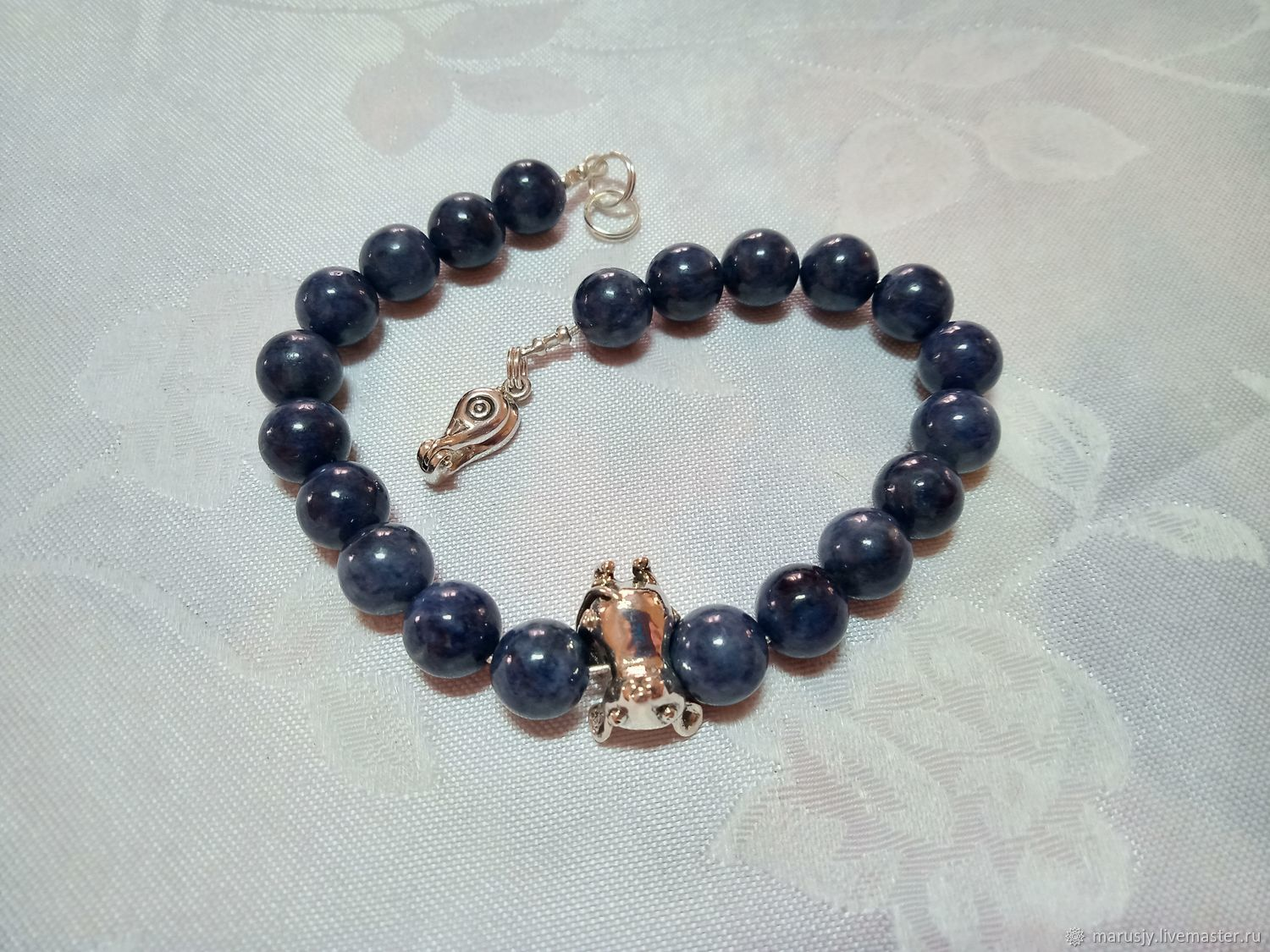Men's bracelet made of AA sapphire with a mouse made of 925 silver, magnetic lock, Bead bracelet, Sergiev Posad,  Фото №1