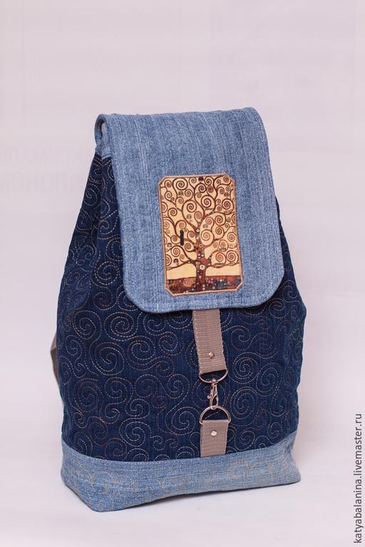 Рюкзаки ручной работы. Ярмарка Мастеров - ручная работа. Купить Джинсовый рюкзак Густав Климт школьный городской. Handmade. Синий