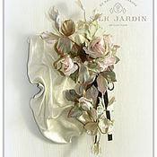 Картины и панно ручной работы. Ярмарка Мастеров - ручная работа Панно. Интерьерная композиция с шёлковыми розами. Handmade.