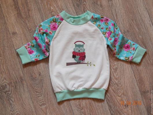 Одежда для девочек, ручной работы. Ярмарка Мастеров - ручная работа. Купить Свитшот для девочки. Handmade. Комбинированный, футер с начесом, термопринт