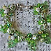 Украшения handmade. Livemaster - original item Bracelet with Japanese tensha beads, agate, green Calla quartz. Handmade.