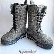 """Валяные ботинки """"Grey boots""""."""