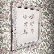 Картины и панно ручной работы. Ярмарка Мастеров - ручная работа картина Бабочки (в рамочке интерьерная, шебби-шик, белая). Handmade.
