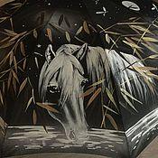 Аксессуары ручной работы. Ярмарка Мастеров - ручная работа Зонт с росписью - Ежик и лошадь. Handmade.