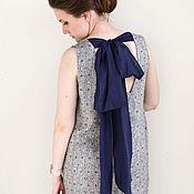 Одежда ручной работы. Ярмарка Мастеров - ручная работа Сине-серое льняное платье с вырезом и бантом на спине. Handmade.