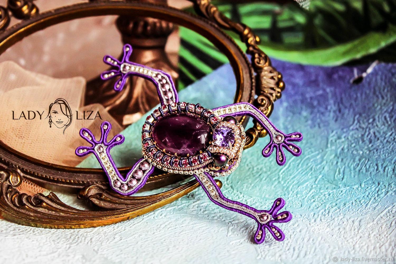 Purple frog brooch with amethyst. A beaded brooch, Brooches, Armavir,  Фото №1