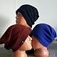 На этих фото шапочки трёх цветов:васильковый, бордо и тёмносиняя.