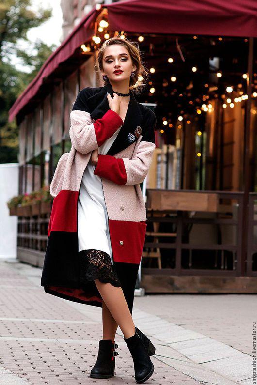 """Верхняя одежда ручной работы. Ярмарка Мастеров - ручная работа. Купить Пальто-халат трехцветное """"Суфле в шоколаде"""". Handmade. шерсть"""