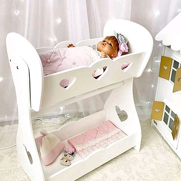 Dolls & toys handmade. Livemaster - original item Crib for dolls with dressing room. Doll furniture. Handmade.