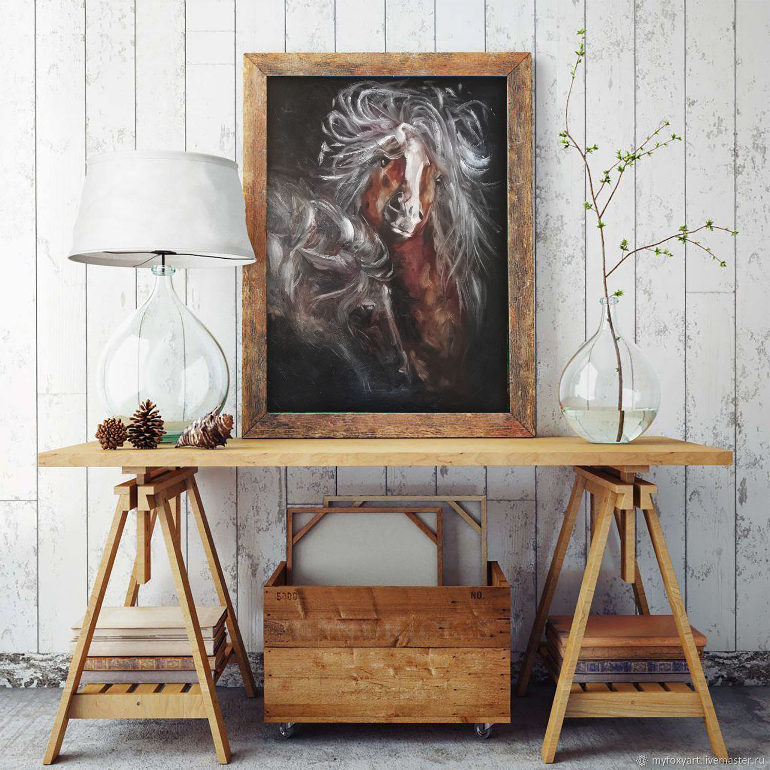 A pair of horses, an oil painting on canvas, he and she, Pictures, St. Petersburg,  Фото №1