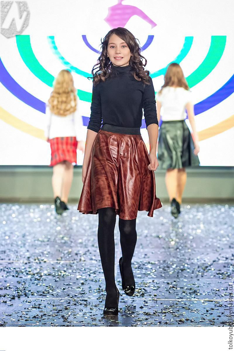 Skirt eco-leather brindle brown, Skirts, Novosibirsk,  Фото №1