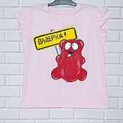 """Одежда handmade. Livemaster - original item Детская футболка с росписью """"Желейный медведь Валерка"""". Handmade."""
