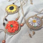 Украшения handmade. Livemaster - original item Pendant made of jute, embroidered ribbons. Handmade.