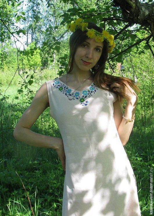 Платья ручной работы. Ярмарка Мастеров - ручная работа. Купить Сарафан летний. Handmade. Бежевый, платье летнее, льняное платье