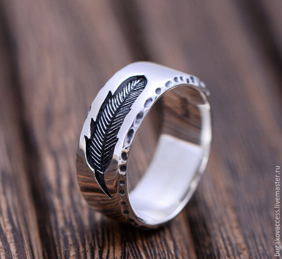Silver ring with a feather, Rings, Moscow,  Фото №1