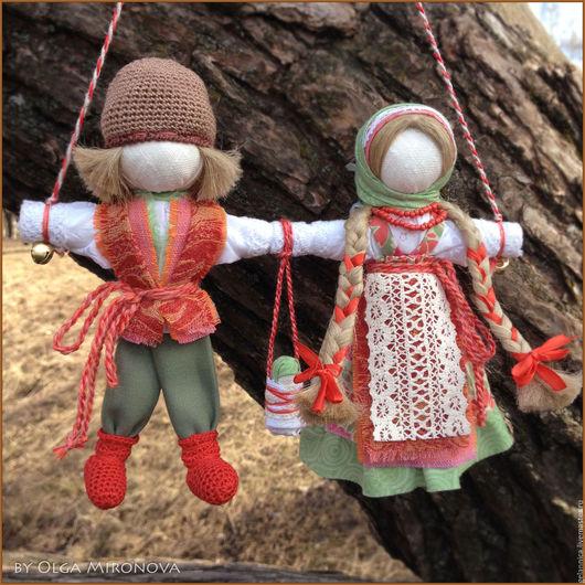 Народные куклы ручной работы. Ярмарка Мастеров - ручная работа. Купить Неразлучники. Handmade. Ярко-красный, подарок на свадьбу