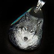 Украшения handmade. Livemaster - original item Wolf-decoration-totem in the technique of lacquer miniature. Handmade.