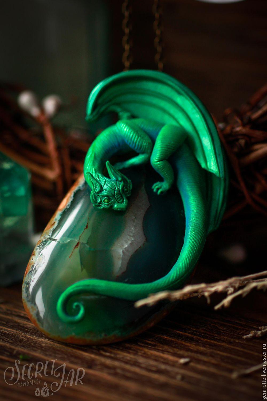 Pendant 'emerald dragon Falkor', Pendants, Moscow,  Фото №1