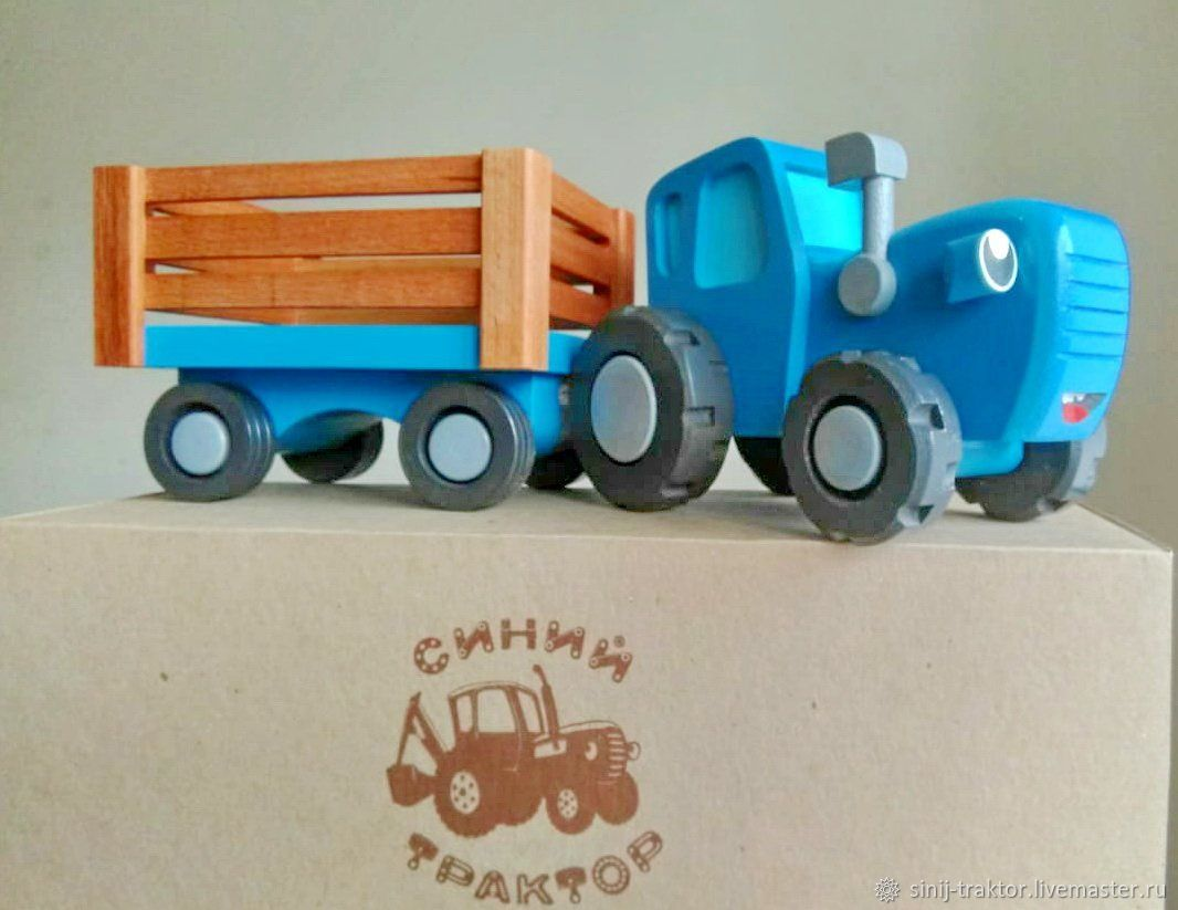 Игрушки: Синий трактор с прицепом — (большой размер), Техника роботы транспорт, Москва,  Фото №1