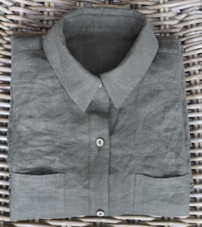 Women's shirt made of 100% linen, Shirts, Tomsk,  Фото №1