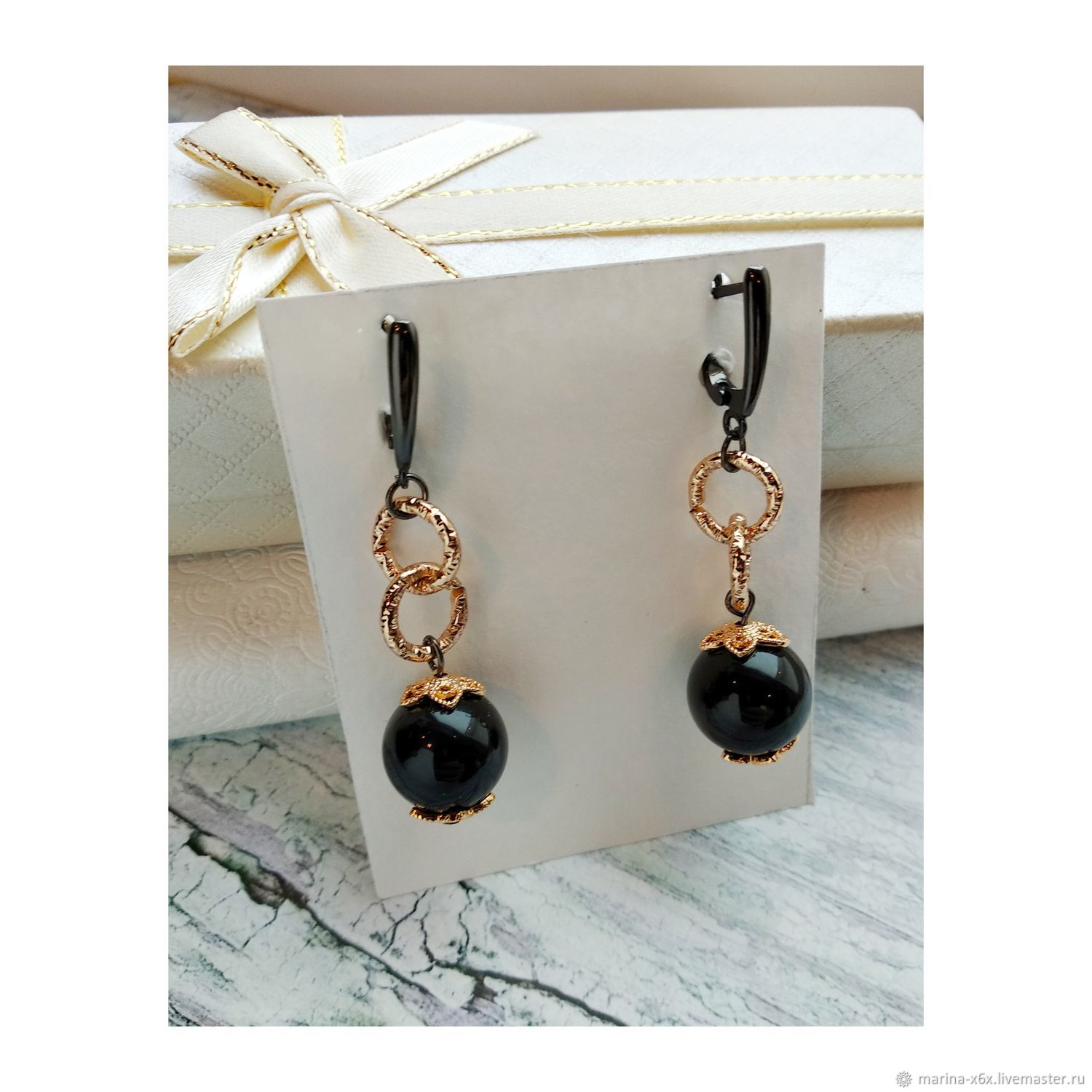 Earrings with black agate and pendants, Earrings, Moscow,  Фото №1