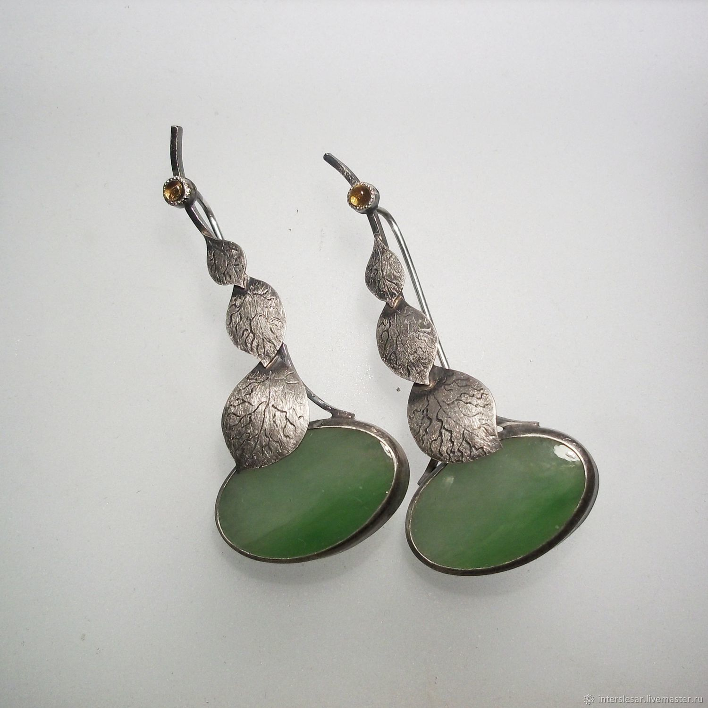 Jade earrings ' Apple orchard', Earrings, Moscow,  Фото №1