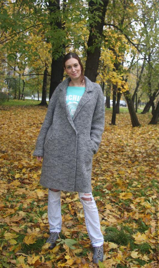 Пиджаки, жакеты ручной работы. Ярмарка Мастеров - ручная работа. Купить Пальто вязаное -Все оттенки серого. Handmade. Однотонный