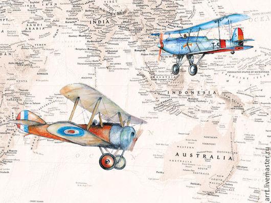Детская ручной работы. Ярмарка Мастеров - ручная работа. Купить Аэропланы и  карта Индонезии и Австралии. Handmade. Разноцветный, винтажный самолет