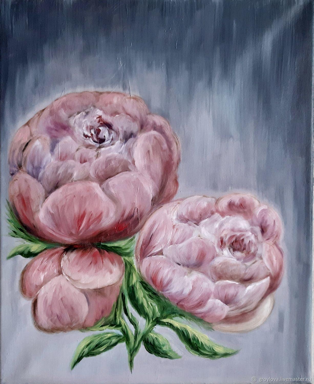 Картина маслом. Цветочная серия. Три розовых пиона. В интерьер, Картины, Чита,  Фото №1