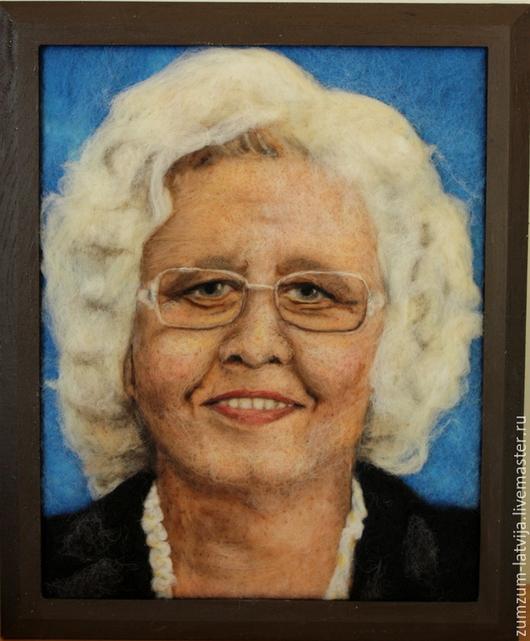 Люди, ручной работы. Ярмарка Мастеров - ручная работа. Купить Портрет из шерсти Дама. Handmade. Синий, портрет на заказ, шерсть