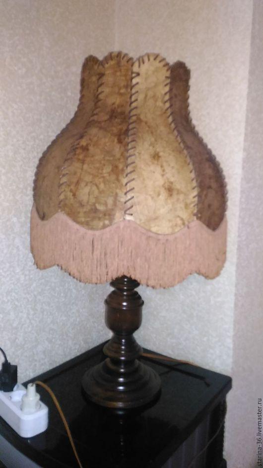 Винтажные предметы интерьера. Ярмарка Мастеров - ручная работа. Купить Лампа настольная. дерево. кожа. Европа. Handmade. Коричневый, дерево