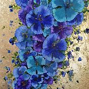 Картины и панно handmade. Livemaster - original item blue flowers. Interior flower series with gold leaf. Handmade.