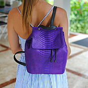 Сумки и аксессуары handmade. Livemaster - original item Python skin backpack Fashion Purple. Handmade.
