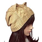 Аксессуары handmade. Livemaster - original item Hat-stocking with Cat ears knitted female with braids. Handmade.