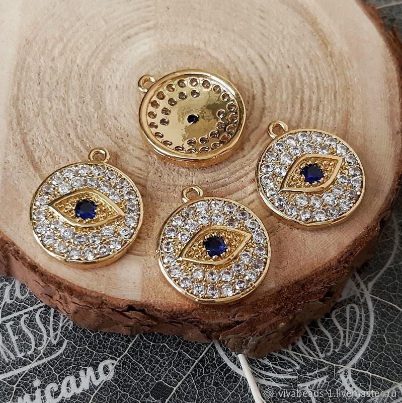 1 PCs. Eye pendant with 14x12x2 mm zircons gilt (4360), Beads1, Voronezh,  Фото №1